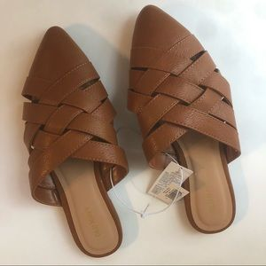 OLD NAVY Woven Mule Slip-On Shoes NWT 6 Whiskey